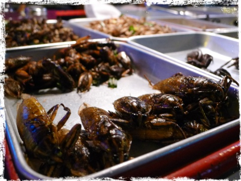 Delicacies of deep-fried creepy crawlies are aplenty in Khao San Road at night