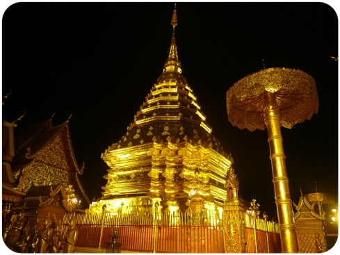 A view of the golden chedi at Wat Doi Suthep at night
